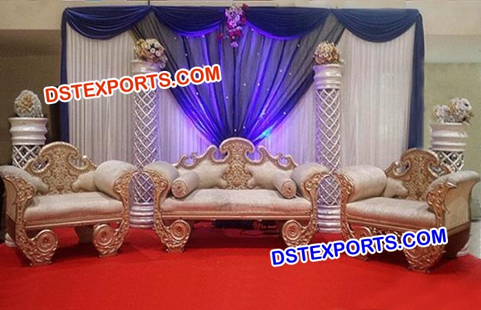 Muslim Wedding Furnitures Mehandi Stage Decorated Throne Two Seater Gold Plated Couches Silver Carving Three Seaters